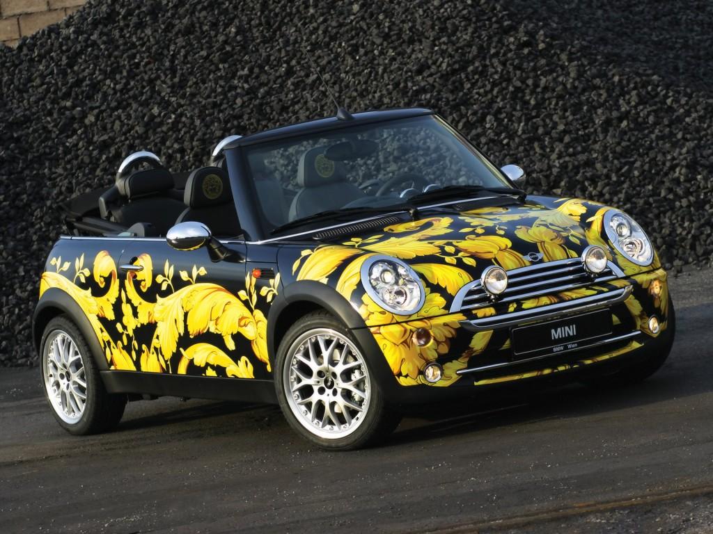 2013 Mini Cabriolet By Donatella Versace Front Angle Rocks Wallpaper HD free