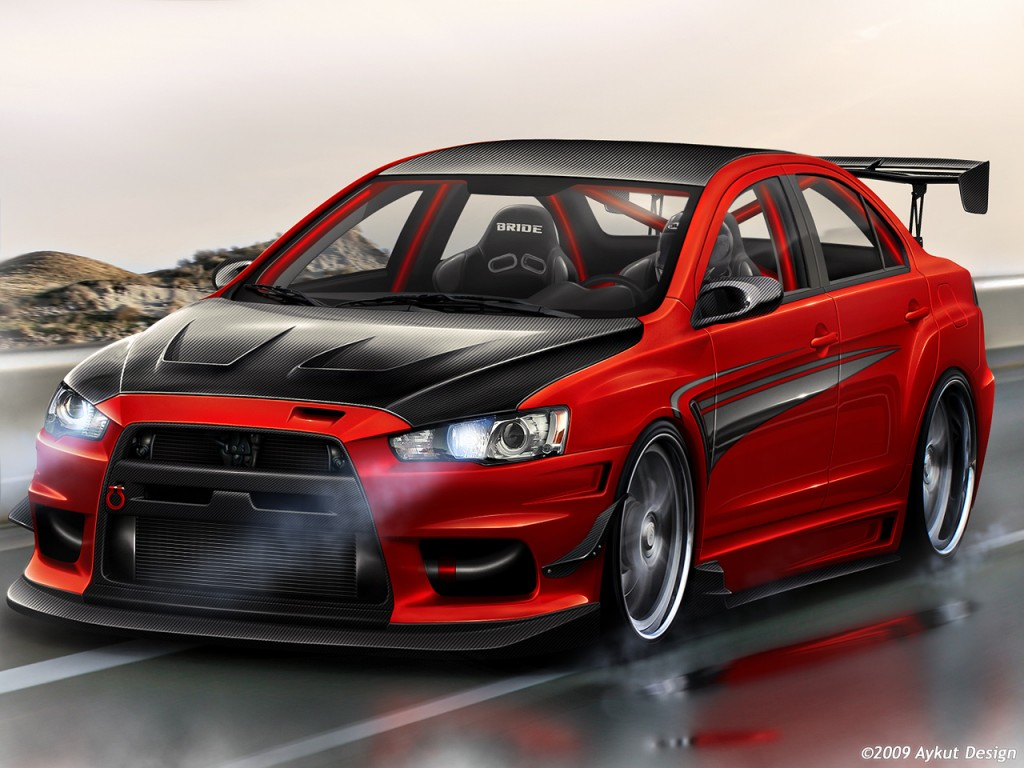Red Mitsubishi Lancer Evo Wallpaper