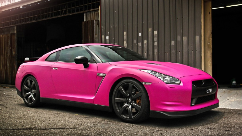 Cool Nissan GTR  In Matte Pink 1920x1080 Wallpapers