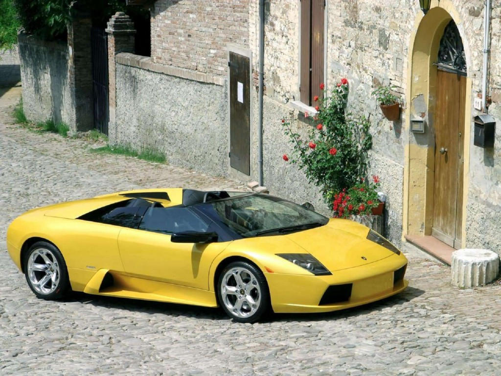 download Lamborghini Murcielago Roadster Yellow HD Background