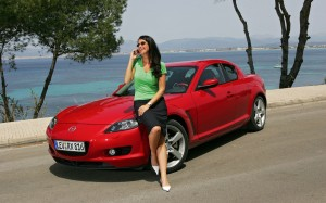 Red Mazda RX8 with girl HD Wallpaper