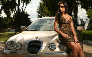 Jaguar Car And Girl Wallpaper Free