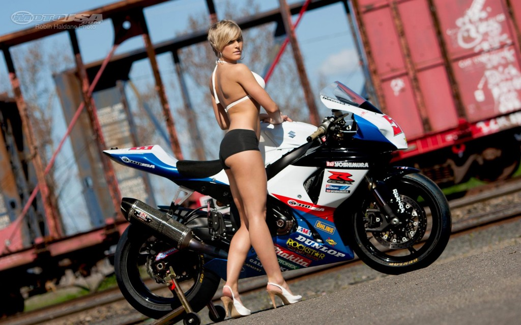download Pinup Mindy Girl And Bike HD Wallpapers